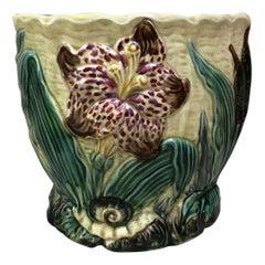 19th Century Majolica Jardinière Flower and Snail Wasmuel