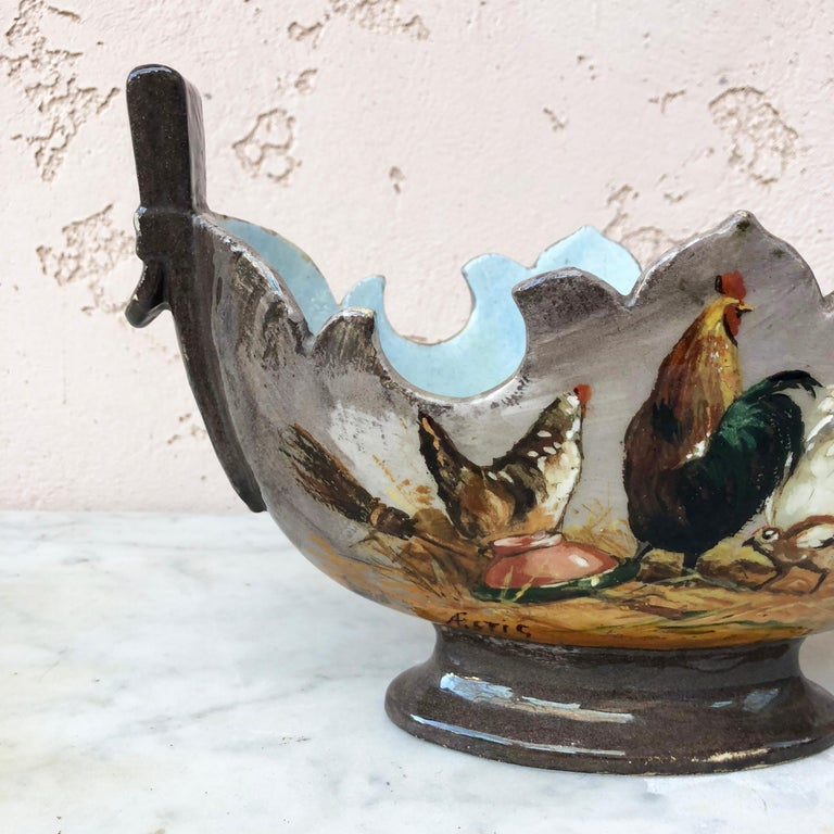 Country 19th Century Majolica Jardinière with Hen & Rooster For Sale