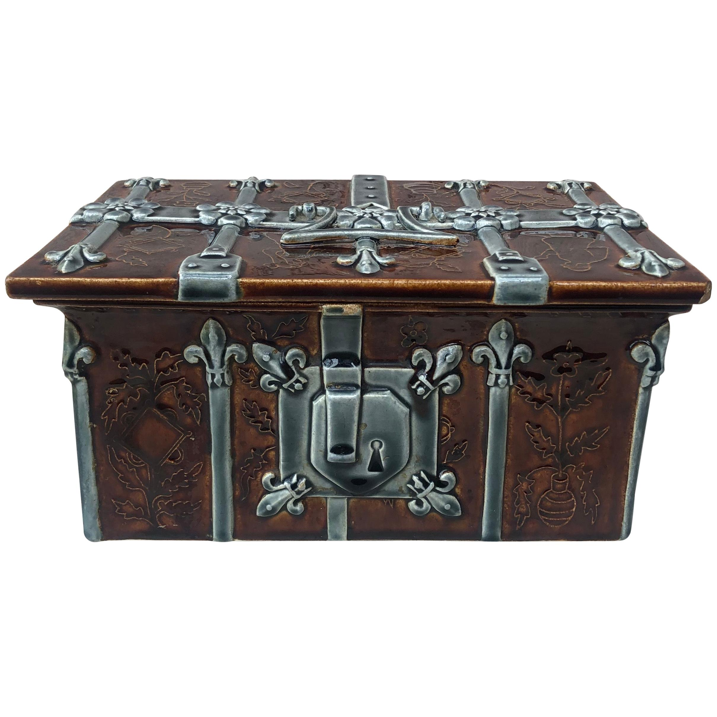 19th Century Majolica Jewel Box Choisy Le Roi