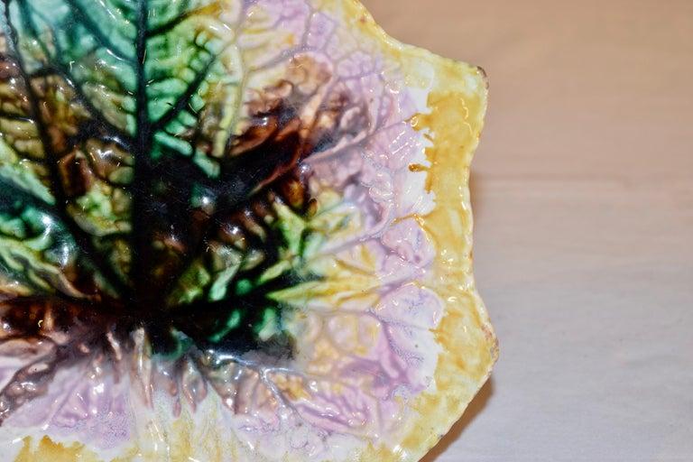 English 19th Century Majolica Leaf Dish For Sale