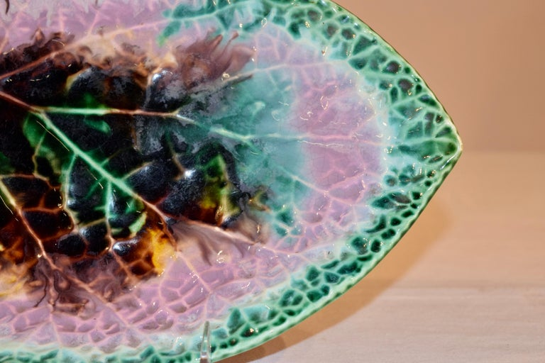 Pottery 19th Century Majolica Leaf Dish For Sale
