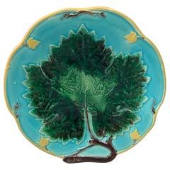 19th Century Majolica Leaf Plate Joseph Holcroft