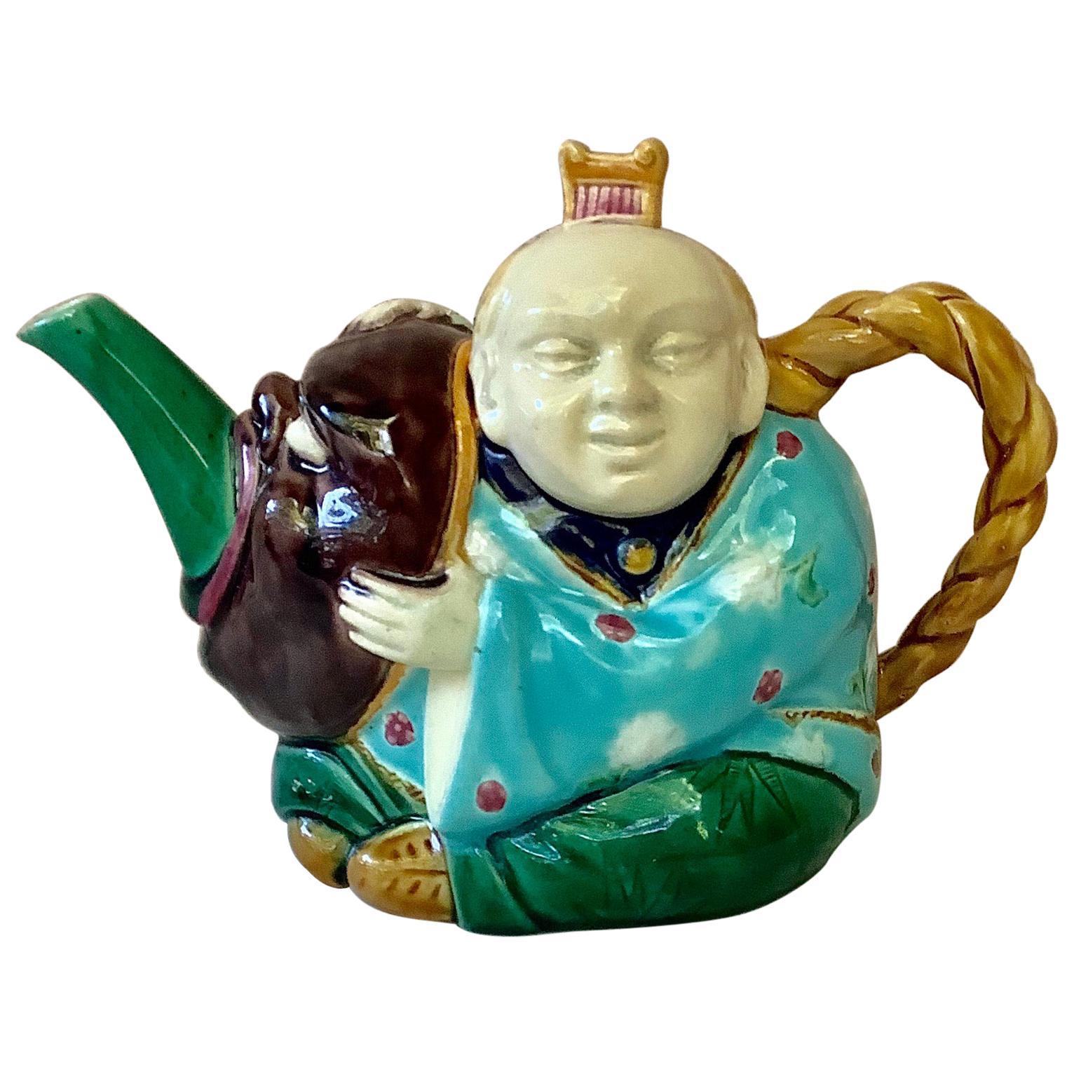 19th-Century Majolica Minton Figural Teapot
