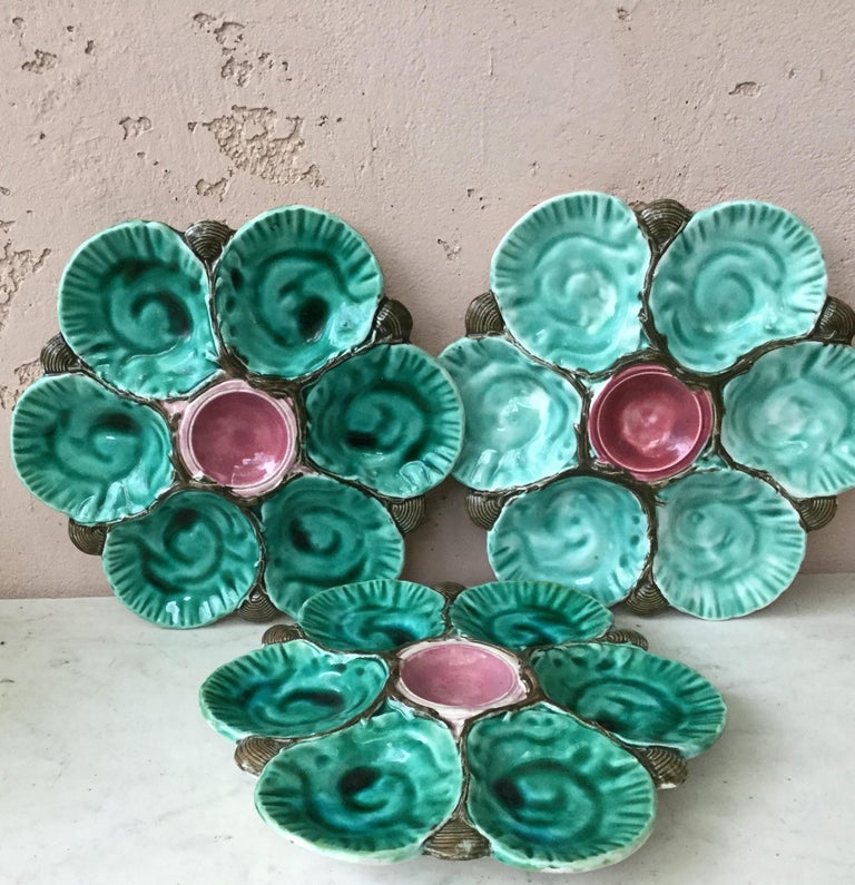 Late 19th Century 19th Century Majolica Oyster Plate Choisy Le Roi For Sale