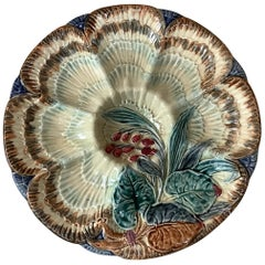19th Century Majolica Oyster Plate Wasmuel