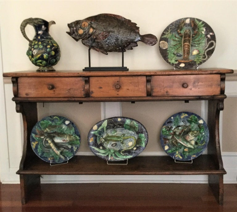 19th Century Majolica Palissy Crabs Wall Platter Alfred Renoleau For Sale 2