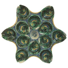 19th Century Majolica Palissy Fishs Heads Oyster Plate