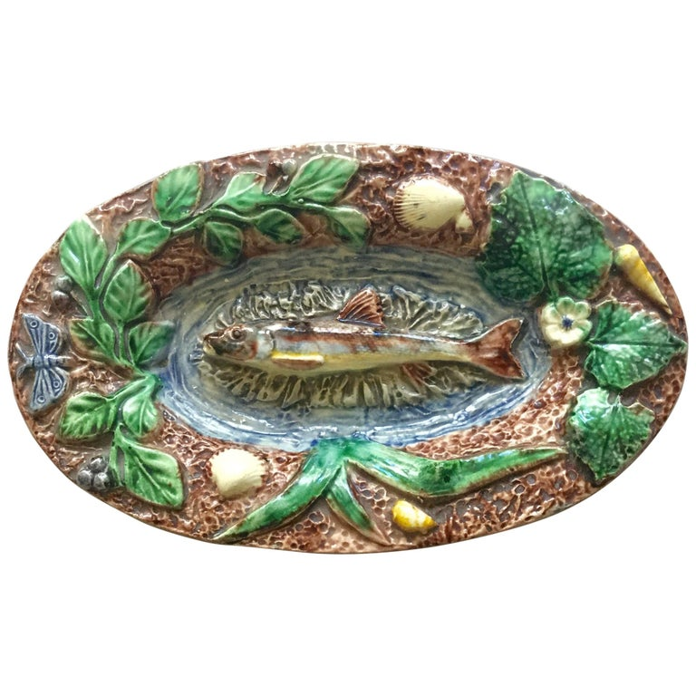 Late 19th Century 19th Century Majolica Palissy Frog Wall Platter Thomas Sergent For Sale