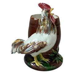 19th Century Majolica Palissy Rooster Thomas Sergent