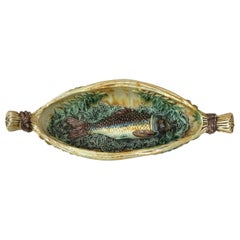 19th Century Majolica Palissy Wicker Boat with a Fish
