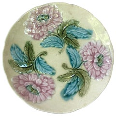 19th Century Majolica Pink Flowers Plate Onnaing