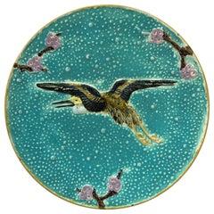 19th Century Majolica Plate with Crane Flying Joseph Holcroft