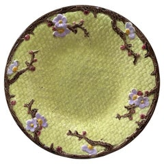 19th Century Majolica Plate with Flowers Joseph Holcroft