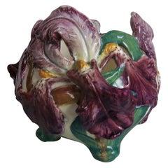 19th Century Majolica Purple Iris Cache Pot Delphin Massier