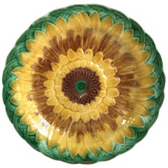 19th Century Majolica Sunflower Plate Wedgwood