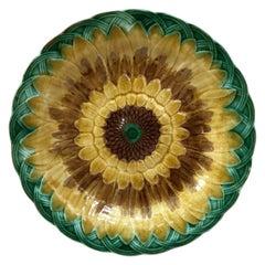 19th Century Majolica Sunflower Plate Wedgwood