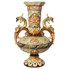 19th Century Majolica Vase by Wilhelm Schiller & Son Marked, Bohemia, circa 1880