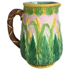 19th Century Majolica Wheat Pitcher George Jones