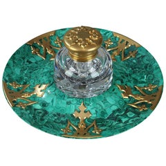 19th Century Malachite and Gilt Bronze Inkwell