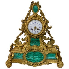 19th Century Malachite and Gilt Bronze Mantel Clock