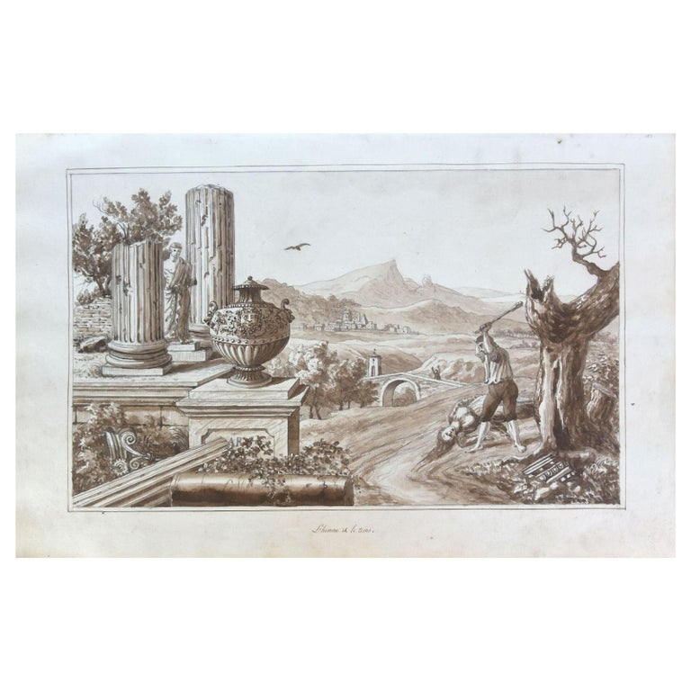 """19th Century """"Man and time"""" Watercolor Drawing on Paper from the 18th Century For Sale"""