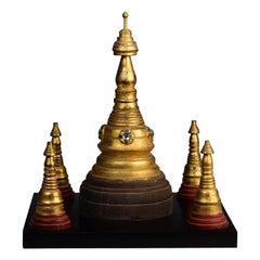 19th Century, Mandalay, Antique Burmese Wooden Pagoda