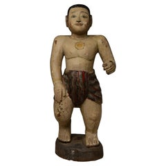 19th Century, Mandalay, Burmese Wooden Man Figurine