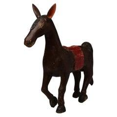 19th Century, Mandalay, Burmese Wooden Walking Horse Figurine