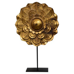 19th Century, Mandalay, Large Burmese Wooden Flower Decoration with Stand