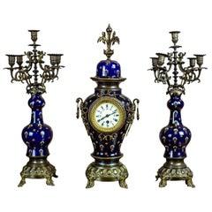 19th-Century Sapphire Ceramic-Brass Mantel Clock Set