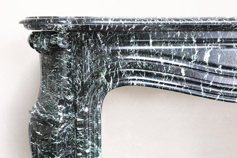 French 19th Century Mantel Piece in Pompadour Style of Vert de Mer Marble For Sale