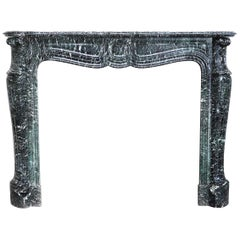 19th Century Mantel Piece in Pompadour Style of Vert de Mer Marble