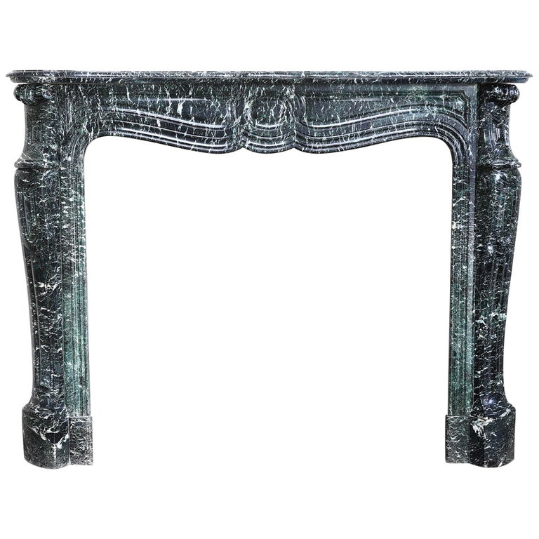 19th Century Mantel Piece in Pompadour Style of Vert de Mer Marble For Sale
