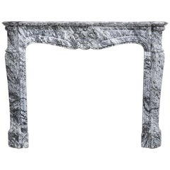19th Century Mantel Piece in Style of Louis XV of Blue Fleuri Marble