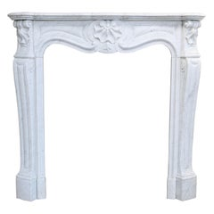 19th Century Mantel Piece in Style of Louis XV of Carrara Marble
