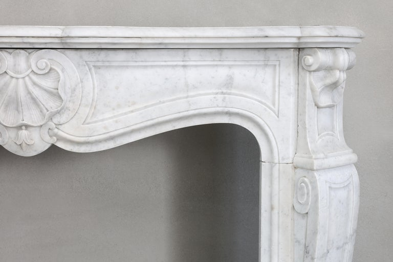 French 19th Century Mantel Piece of Carrara Marble in Style of Louis XV