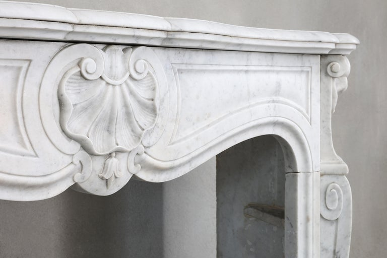 19th Century Mantel Piece of Carrara Marble in Style of Louis XV 2
