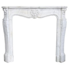 19th Century Mantel Piece of Carrara Marble in Style of Louis XV
