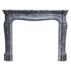 19th Century Mantel Surround of Blue Turquin Marble in Style of Pompadour