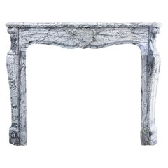 19th Century Mantelpiece of Blue Fleuri Marble in Style of Louis XV