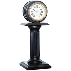 19th Century Mantle Clock with Pedestal Column Base Hand-Painted Porcelain Dial