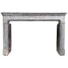 19th Century Mantle of Bicolor Marble Stone in Style of Louis XIV