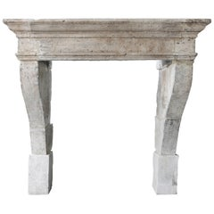 19th Century Mantle of French Limestone in Style of Campagnarde
