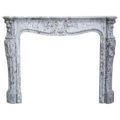19th Century Mantle Piece of Blue Fleuri Marble in Style of Louis XV