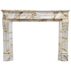 Louis XVI Paonazzo Marble Fireplace from Paris