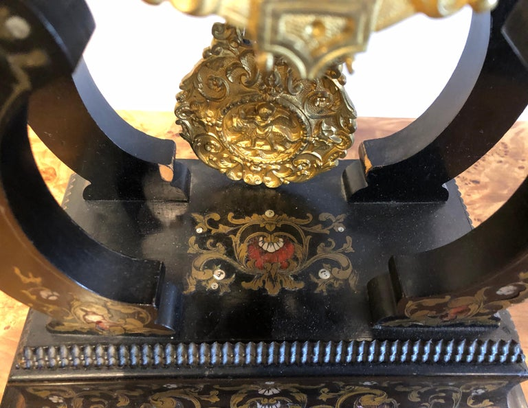 19th Century Mantle, Table Clock Louis Philippe Ebony and Boule Inlaid For Sale 4
