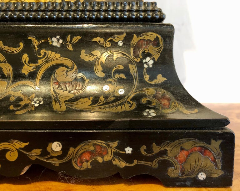 19th Century Mantle, Table Clock Louis Philippe Ebony and Boule Inlaid For Sale 6