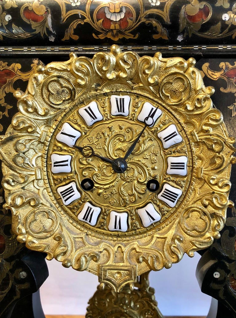 Bronze 19th Century Mantle, Table Clock Louis Philippe Ebony and Boule Inlaid For Sale