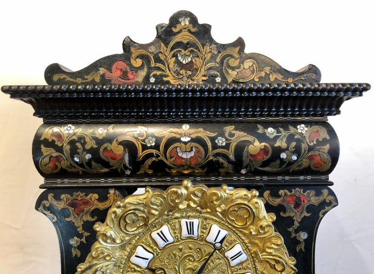 19th Century Mantle, Table Clock Louis Philippe Ebony and Boule Inlaid For Sale 1