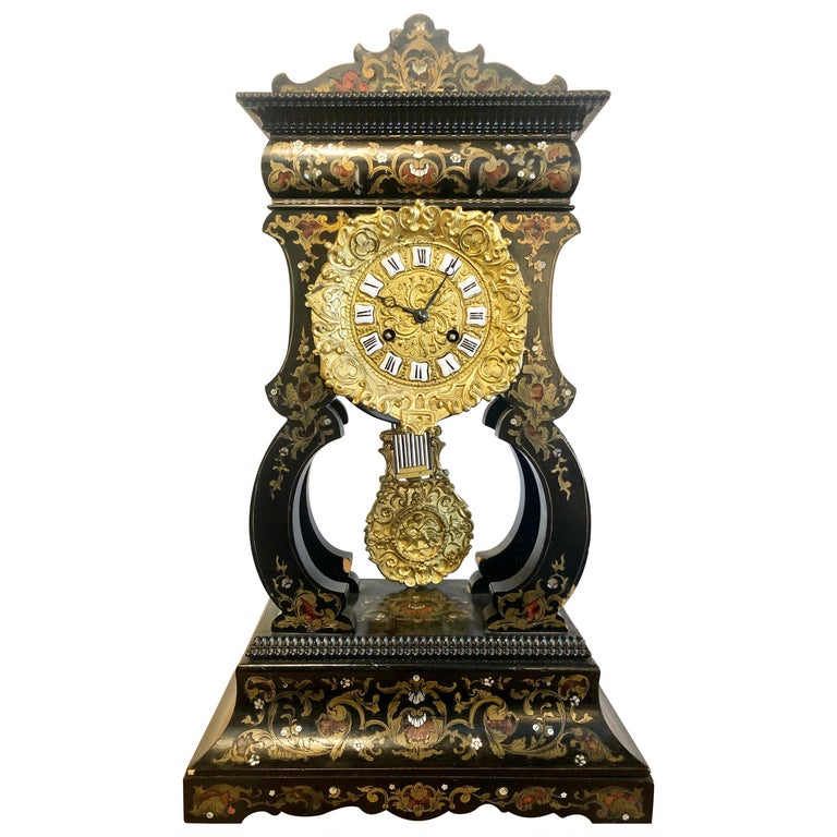 19th Century Mantle, Table Clock Louis Philippe Ebony and Boule Inlaid For Sale